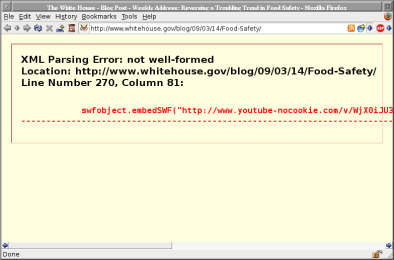 [XML parsing error from www.whitehouse.gov]